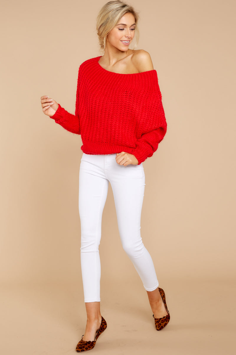 Vibrant Red Off The Shoulder Sweater - Chunky Knit Sweater - Top ... 2d2483754
