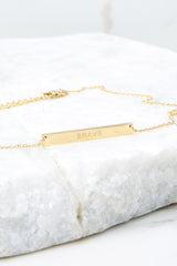 I Am Brave Gold Horizontal Bar Necklace