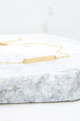 I Am Worthy Gold Horizontal Bar Necklace