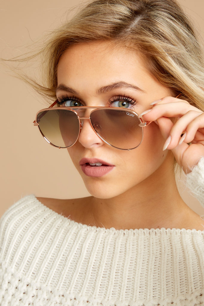 2 Playa Gold Brown Sunglasses at reddressboutique.com