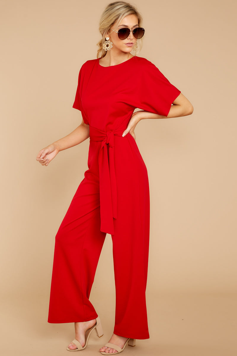 c5ef77d6074c Playful Red Short Sleeve Jumpsuit - Wide Leg Jumpsuit - Playsuit ...