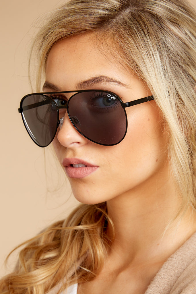 1 High Key Mini Black Smoke Sunglasses at reddressboutique.com