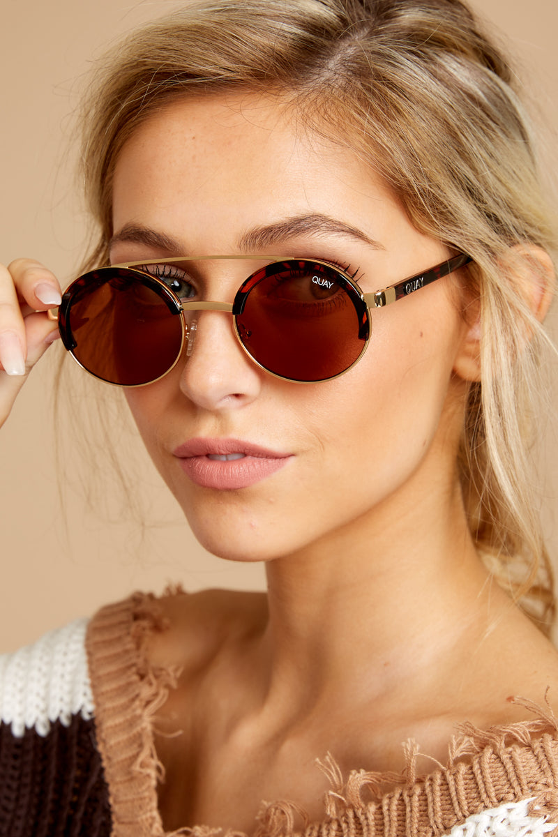 2 Come Around Brown Tortoise Sunglasses at reddressboutique.com