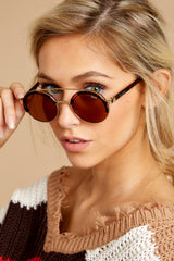 3 Come Around Brown Tortoise Sunglasses at reddressboutique.com