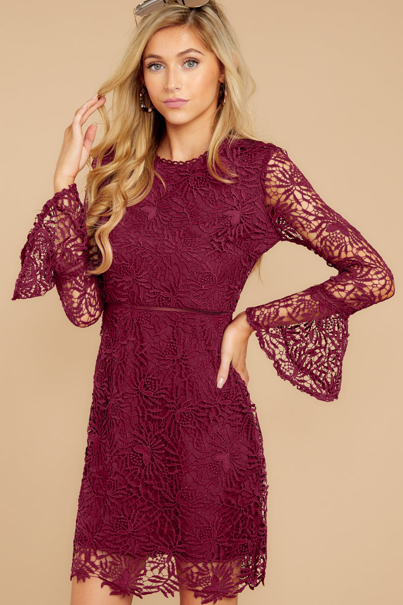 4e207afcab3 Gorgeous Wine Red Lace Dress - Trendy Long Sleeve Dress - Dress ...