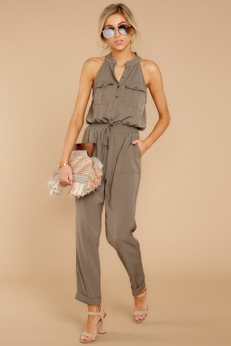2 Talk It Up Olive Jumpsuit at reddress.com