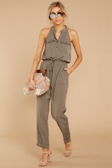 2 Talk It Up Olive Jumpsuit at reddressboutique.com