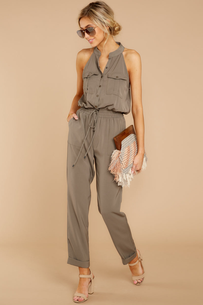 3 Talk It Up Olive Jumpsuit at reddress.com