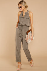 3 Talk It Up Olive Jumpsuit at reddressboutique.com