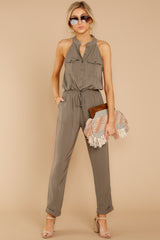 1 Talk It Up Olive Jumpsuit at reddressboutique.com