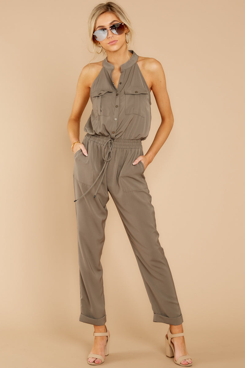 4 Talk It Up Olive Jumpsuit at reddressboutique.com
