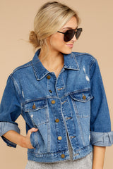 5 It's Gotta Be Done Medium Wash Denim Jacket at reddressboutique.com