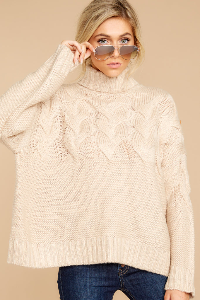 1 Wandering Through Winter Taupe Sweater at reddressboutique.com
