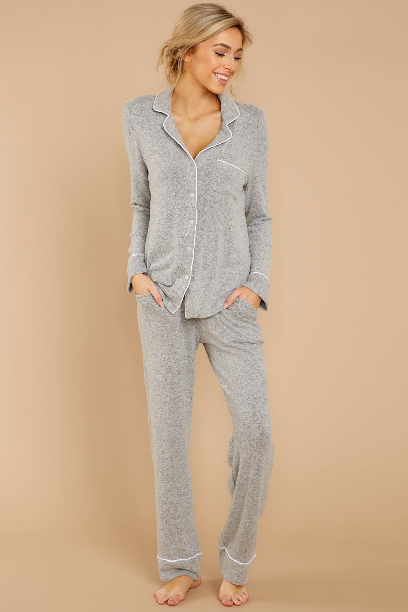 4 Luxe Menswear Pajama Pant In Heather Grey at reddressboutique.com