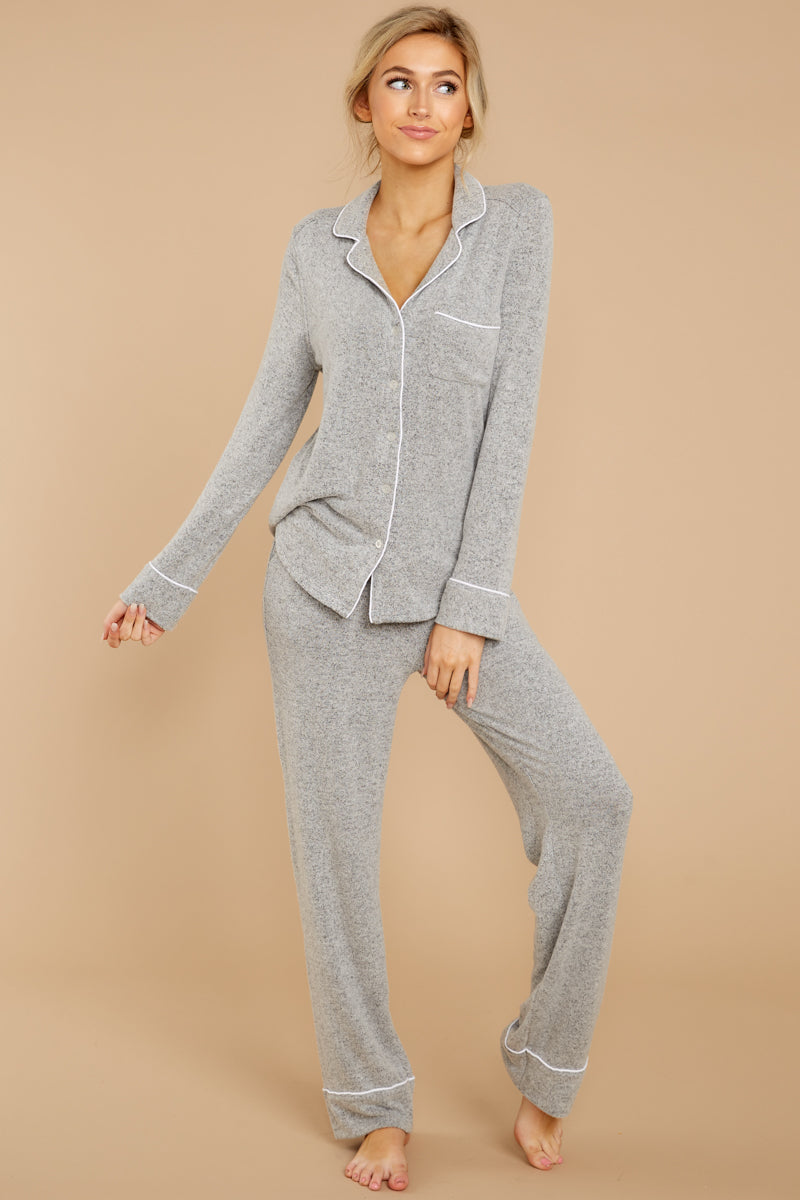 5 Luxe Menswear Pajama Pant In Heather Grey at reddressboutique.com