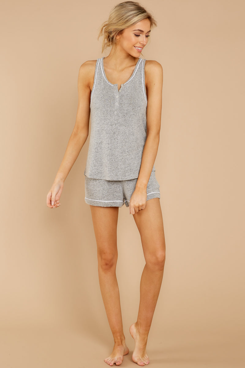 5 The Heather Grey Luxe Menswear Pajama Short at reddress.com