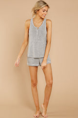 5 Luxe Menswear Pajama Short In Heather Grey at reddressboutique.com