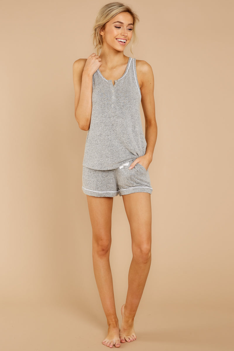 6 Luxe Menswear Pajama Short In Heather Grey at reddressboutique.com