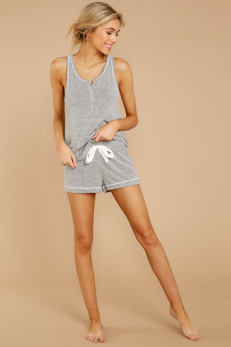 7 The Heather Grey Luxe Menswear Pajama Short at reddress.com