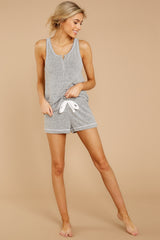 7 Luxe Menswear Pajama Short In Heather Grey at reddressboutique.com