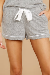 1 Luxe Menswear Pajama Short In Heather Grey at reddressboutique.com