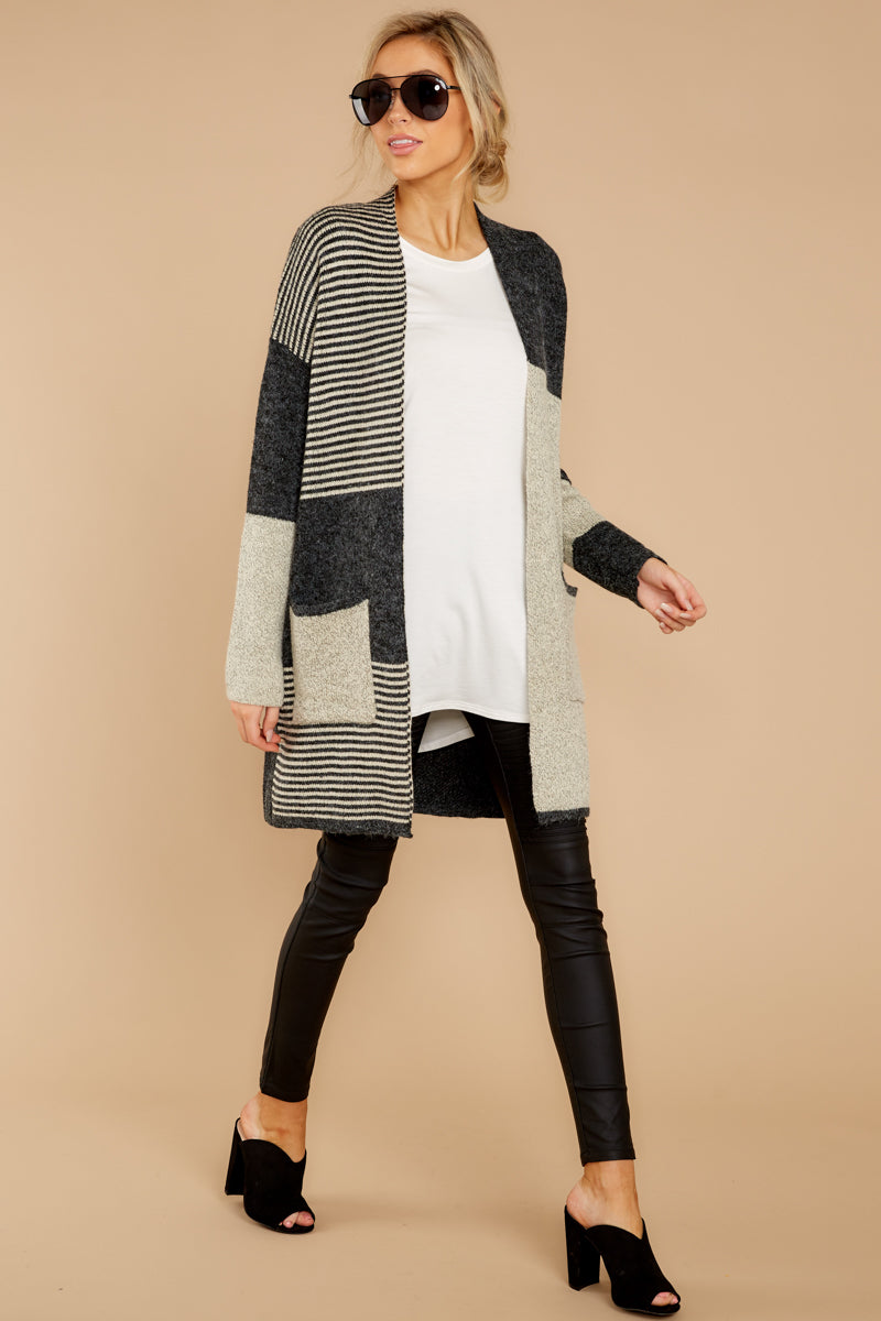 1 Chill It Out Multi Grey Cardigan at reddressboutique.com
