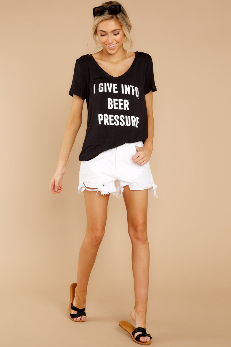 1 I Give Into Beer Pressure Black Graphic Tee at reddressboutique.com