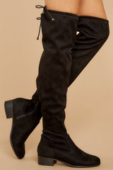 1 Control The Scene Black Over The Knee Boots at reddressboutique.com