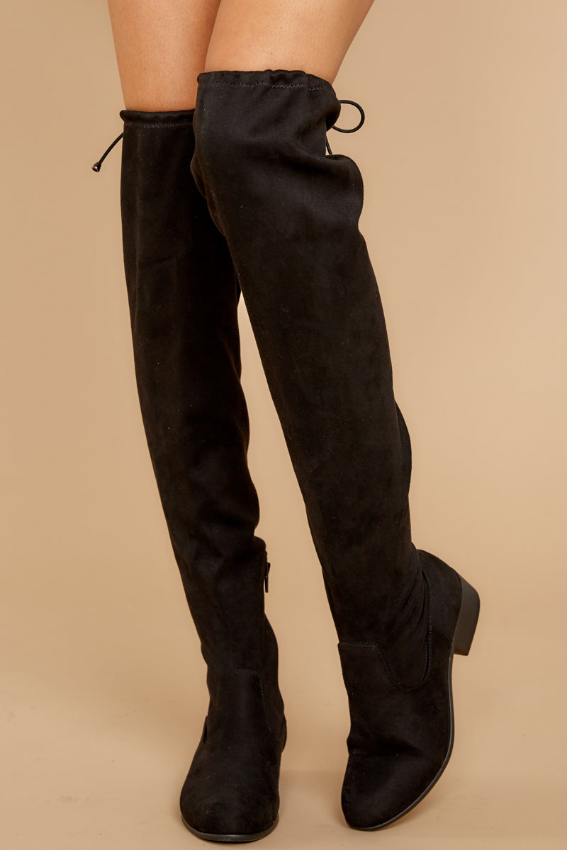 2 Control The Scene Black Over The Knee Boots at reddressboutique.com