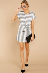 1 Always A Distraction Grey Stripe Dress at reddressboutique.com