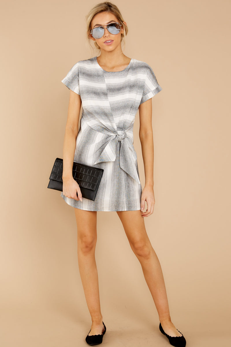 2 Always A Distraction Grey Stripe Dress at reddressboutique.com