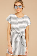 3 Always A Distraction Grey Stripe Dress at reddressboutique.com