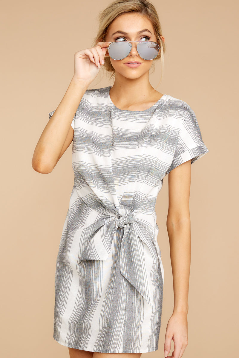 4 Always A Distraction Grey Stripe Dress at reddressboutique.com