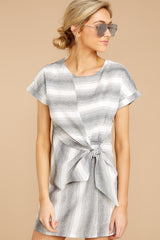 5 Always A Distraction Grey Stripe Dress at reddressboutique.com