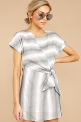 6 Always A Distraction Grey Stripe Dress at reddressboutique.com