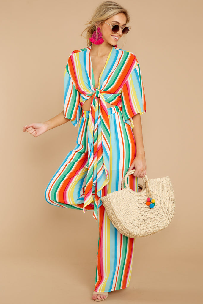 6 Luau With Me Orange Multi Stripe Two Piece Set at reddressboutique.com