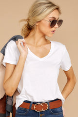 5 V Neck Tee In White at reddress.com