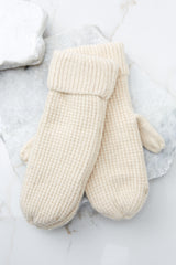 1 Comfort In The Cold Ivory Mittens at reddressboutique.com
