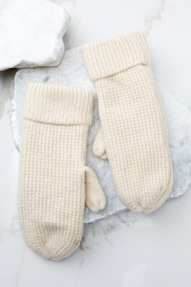 2 Comfort In The Cold Ivory Mittens at reddressboutique.com