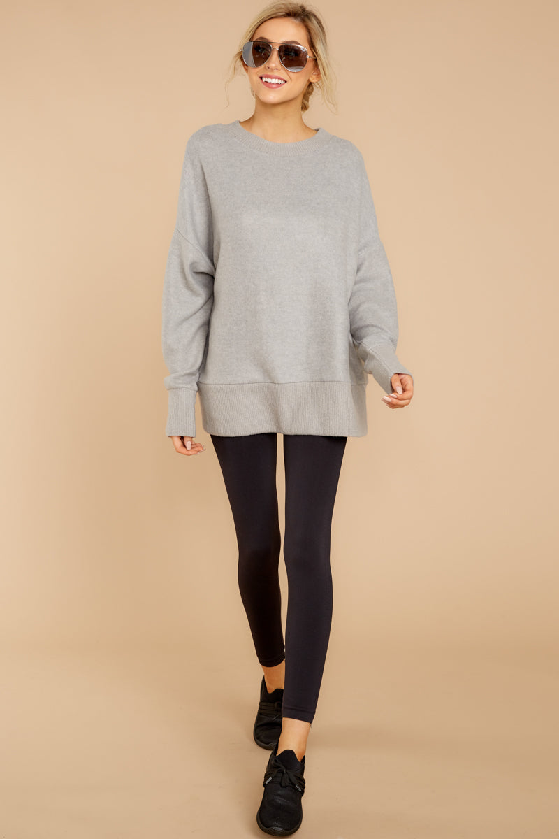 2 Day After Day Heather Grey Sweater at reddressboutique.com