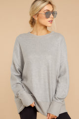 3 Day After Day Heather Grey Sweater at reddressboutique.com