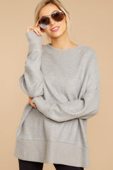 5 Day After Day Heather Grey Sweater at reddressboutique.com