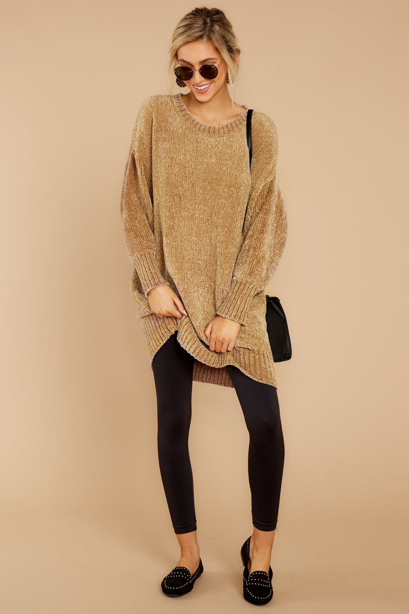 137551cad83 Heavenly Beige Knit Sweater Dress - Long Chenille Sweater - Top ...