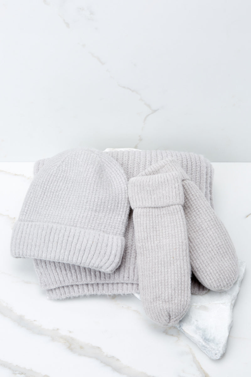 3 Comfort In The Cold Light Grey Mittens at reddressboutique.com