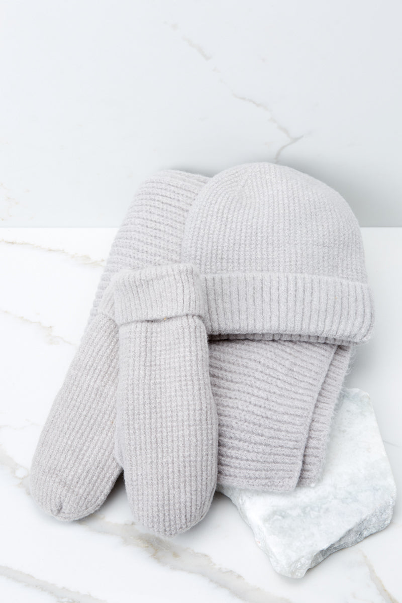4 Comfort In The Cold Light Grey Mittens at reddressboutique.com