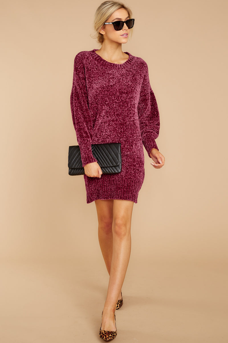 8d00299b523 Playful Purple Berry Sweater Dress - Chenille Knit Sweater - Top ...