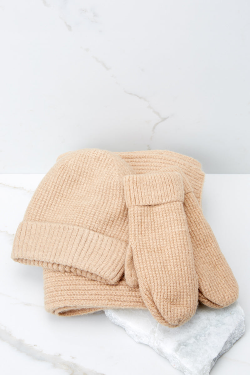 3 Cozy At The Park Beige Scarf at reddressboutique.com