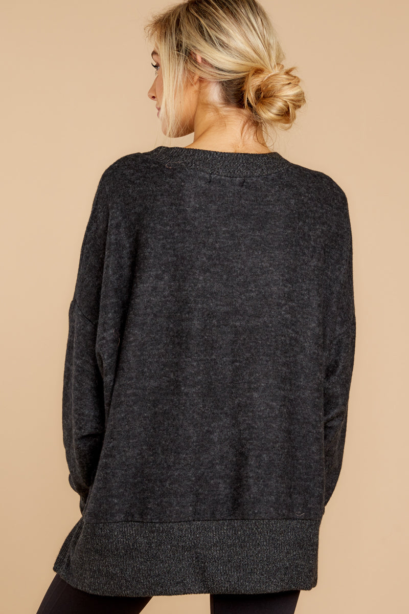 6 Day After Day Heather Charcoal Grey Sweater at reddressboutique.com
