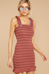 Matters To You Burgundy Multi Stripe Dress