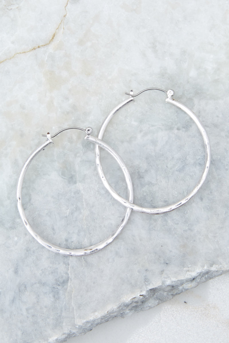 2 On The Come Up Silver Hoop Earrings at reddressboutique.com
